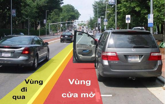 Cách phân biệt vùng mở cửa an toàn cho người trên xe.