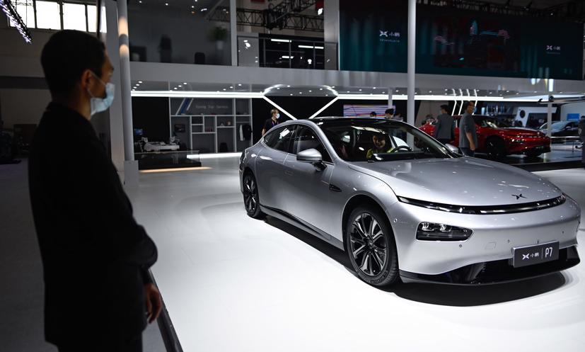 Một chiếc Xpeng P7 tại Triển lãm ô tô Bắc Kinh năm 2020. Ảnh: Bloomberg