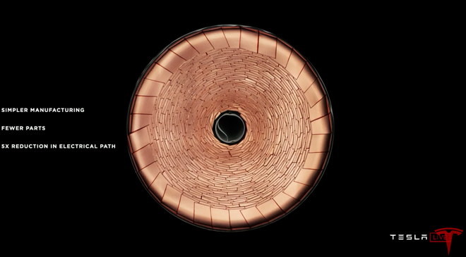Cell pin 4680 mới của Tesla nhìn từ trên xuống.