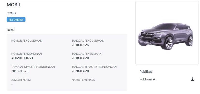 VinFast đăng ký một mẫu SUV tại Indonesia, có thể là Lux SA2.0.